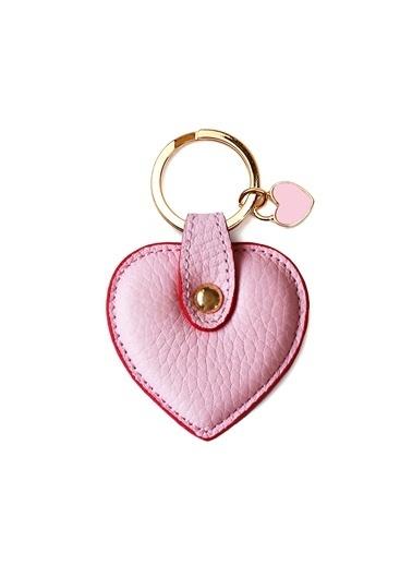 Leather & Paper Deri Kalp Anahtarlık Pembe